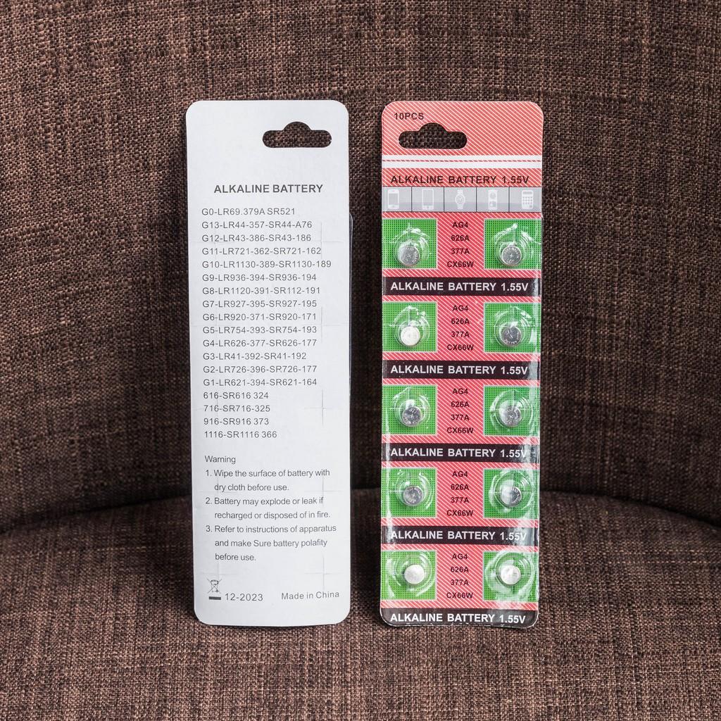 1 Vỉ 10 viên pin đồng hồ phổ thông AG4 tương đương 377 - LR626 - SR626 - CX66W - 177