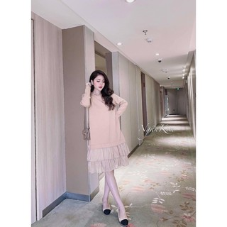 Váy bầu thu đông dáng xuông chất cotton phối ren V230
