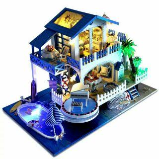Kèm Mica và nhạc – Mô hình nhà gỗ búp bê dollhouse DIY – TB8 Blue Melody