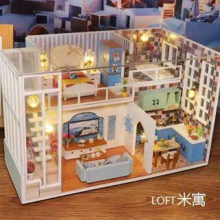 Mô hình nhà gỗ lắp ráp DIY – Kèm mica – M019A Small Apartment