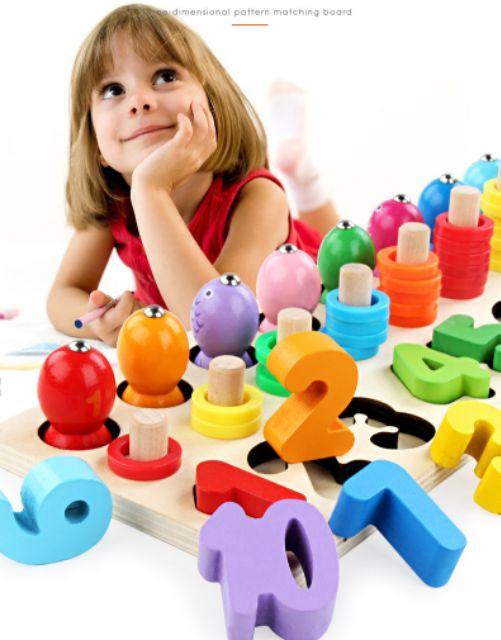 Bộ câu cá và xếp số học toán Montessori mẫu mới đẹp
