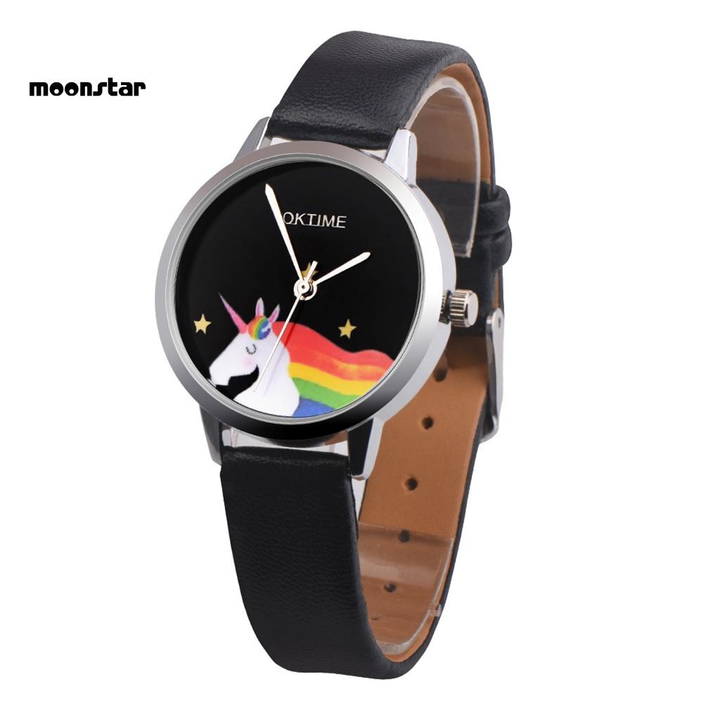 Đồng hồ nữ dây da mặt hình ngựa một sừng dễ thương