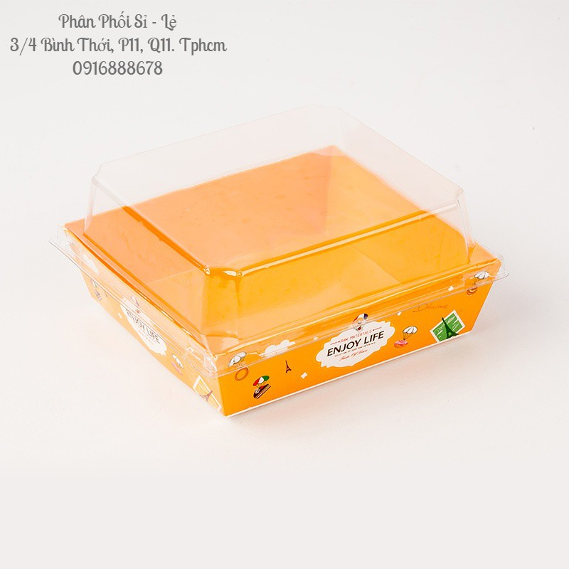 (Enjoy Vàng   1413) Hộp Kraft Vuông Nắp Trong (Set 50)