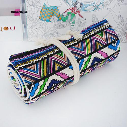 AMA♥36/48/72 Holes Canvas Wrap Roll Up Stationery Pen Pencil Holder Bag Case Pouch
