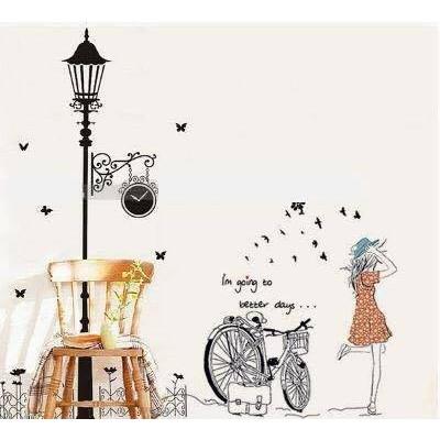 Decal dán tường cô gái và xe đạp