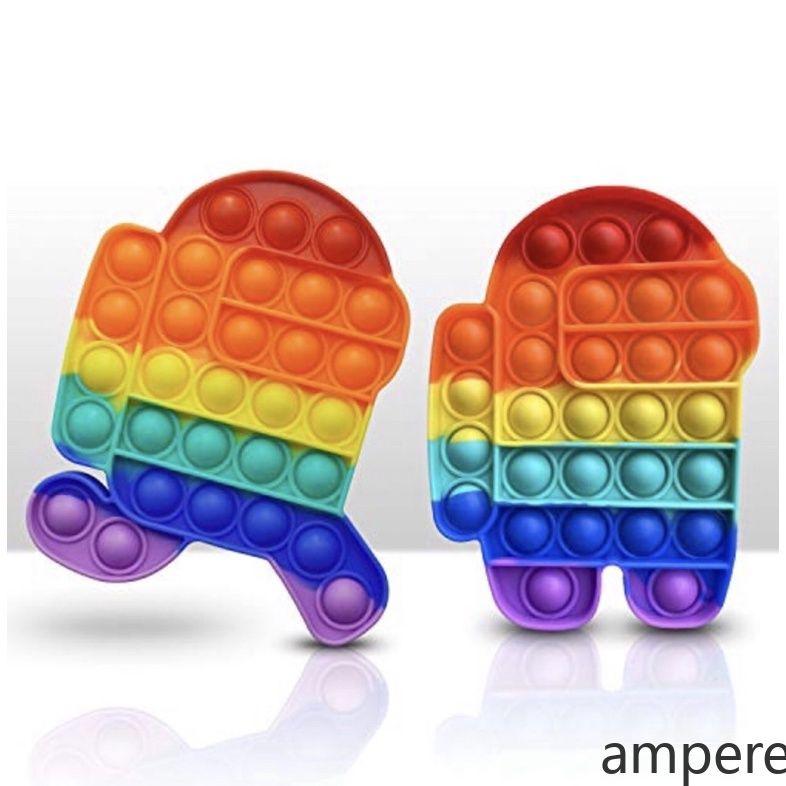 Among Us (Hà nội)Push Pop It Fidget Toy Rainbow Color Finger Pressure Bubble SensoryToys đồ chơi Bóp bong bóng thư giãn xả stress ampere