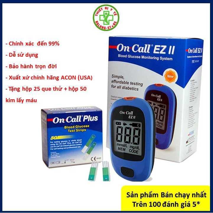 Máy đo đường huyết ( tiểu đường ) trong máu của Mỹ Acon On call EZ II - plus que và kim loại tốt giá rẻ hơn omron + accu