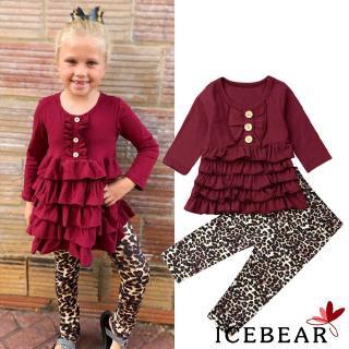 ✸ღ✸Baby Girl Clothes Long Sleeve Ruffle Tops Leopard Trousers Set