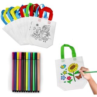 DIY Graffiti Bags Children Bag Set 8 Pcs Bag For Painting and 12 Pcs Colour pens Children Ideal for Birthday celebrations Gifts Schools Kindergarten Celebrations