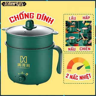 Nồi Lẩu Điện Shiban Mini Núm Xoay 2 NẤC NHIỆT Kèm Giá Hấp 1,8L, Ca Nấu Mì,Nấu Cơm Đa Năng 2 Tầng Cao Cấp thumbnail