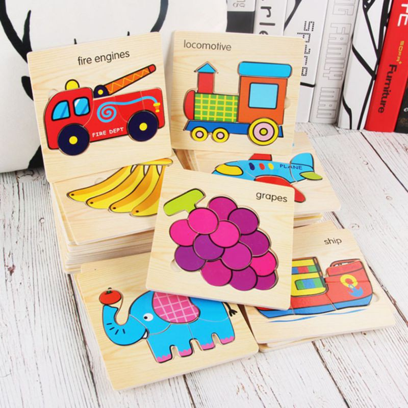 BOBORA Wooden Jigsaw Puzzles for Toddlers Animal Vehicle Fruits Puzzles Toys