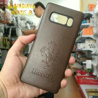 Ốp Lưng Samsung Note 8 Da Nâu Ferrari