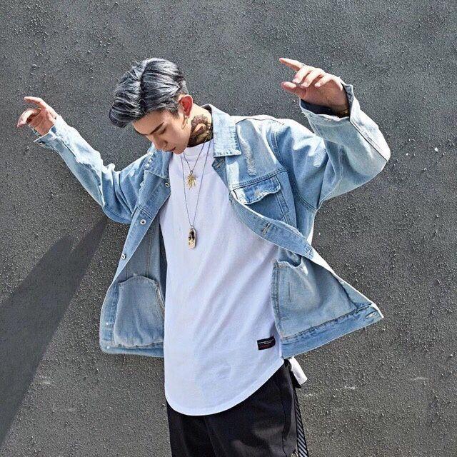 áOKhoác Jean Nam.ÁoKhoác Nam XANH XƯỚT RÁCH CÀO CÁ TÍNH Phối Chữ letgo - Áo khoác jeans