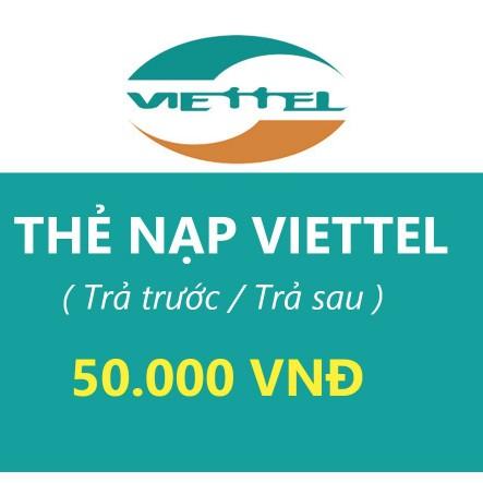 thẻ viettel 50k- Thanh toán thuê bao trả trước, trả sau, internetvietetl.