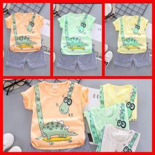 Bộ Hè Cho Bé [Set 3 bộ] 🌈Bộ Cotton Cho Bé Hình Khủng Long 🌈Quần Áo Trẻ Em M40