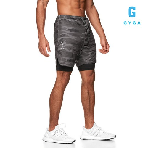 Quần đùi 2 lớp nam thể thao tập gym chạy bộ GYGA