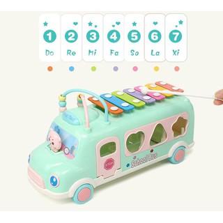 Đồ chơi xe school bus thả hình khối kèm đàn gõ piano cho bé phát triển trí thông minh