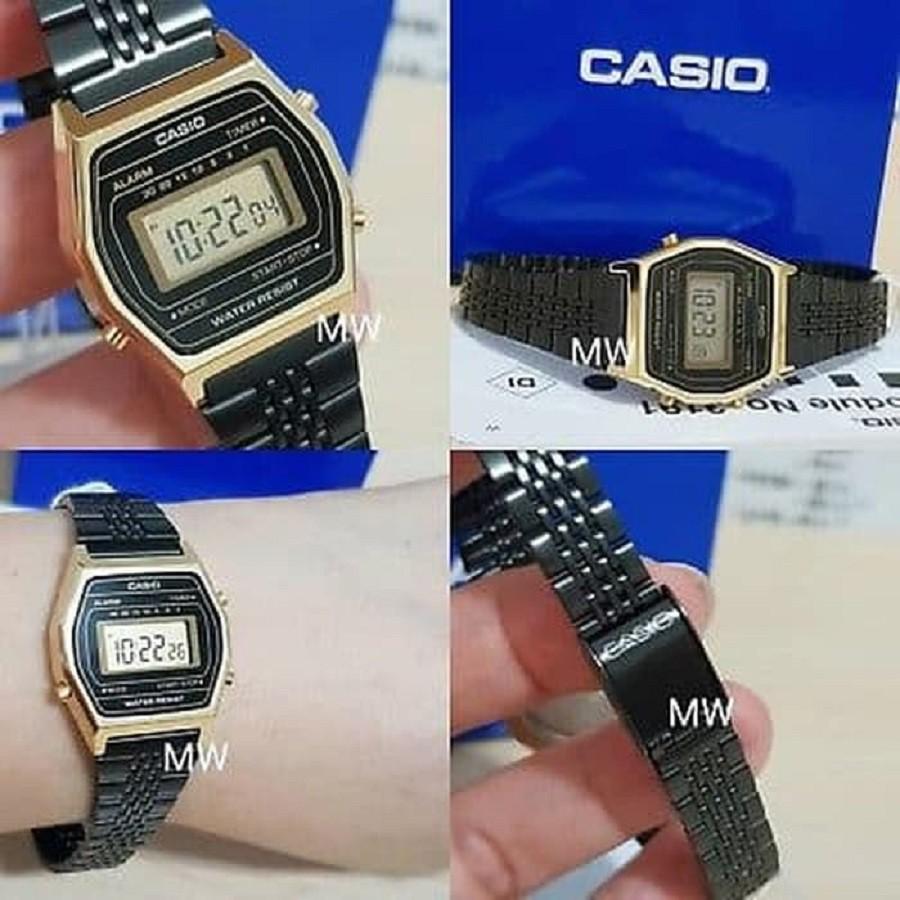 Đồng hồ nữ điện tử Casio LA690WGB-1DF dây thép (chính hãng Anh Khuê)