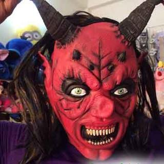 MẶT NẠ CAO SU HÓA TRANG QUỶ SỪNG DÀI Ma Quỷ Kinh Dị Halloween Olens