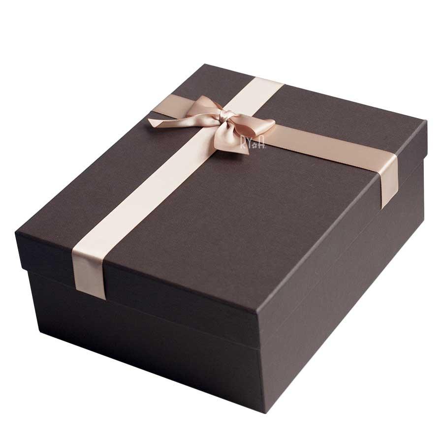Hộp quà lớn đính nơ 24x19x9cm (nâu đậm nơ nâu nhạt) 290515