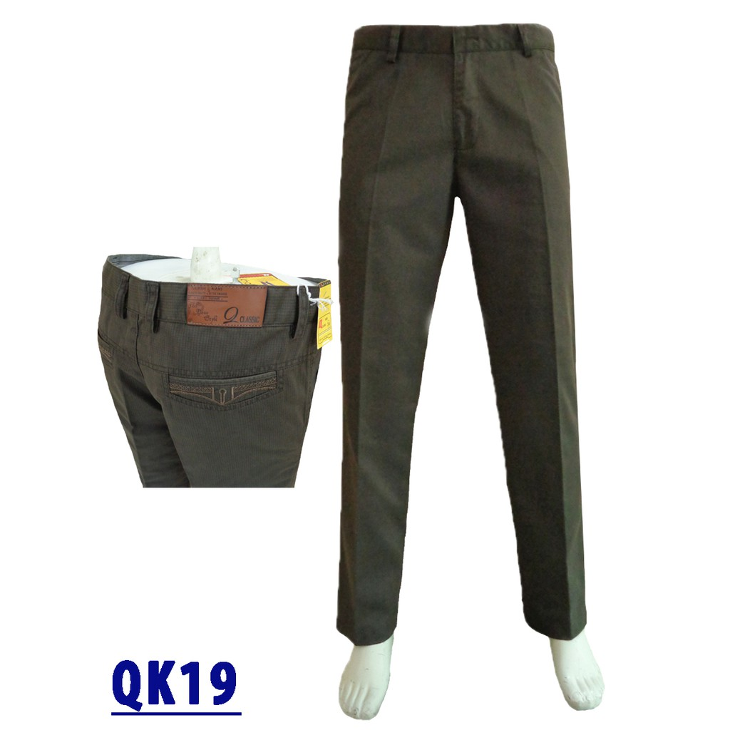 Quần kaki trung niên ống rộng vải in màu nâu QK019