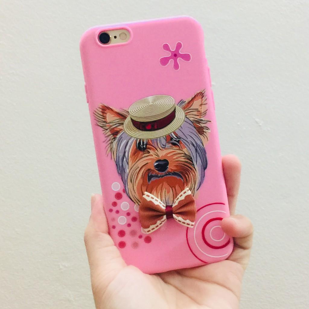 Ốp Su Dẻo Chó Con Yorkshine Hồng Đội Mũ Đeo Nơ - Cho Iphone 6,6plus,X