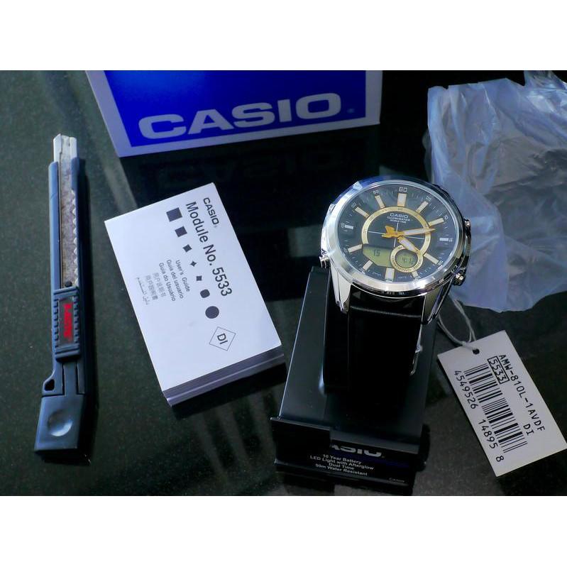 ĐỒNG HỒ NAM CASIO AMW-810L-1AV Chính Hãng Pin 10 năm - DÂY DA MÀU ĐEN