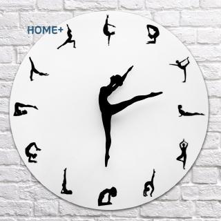Yoga Postures Wall Clock Fitness Flexible Girl Silent Modern Clock Home Office Decor @vn
