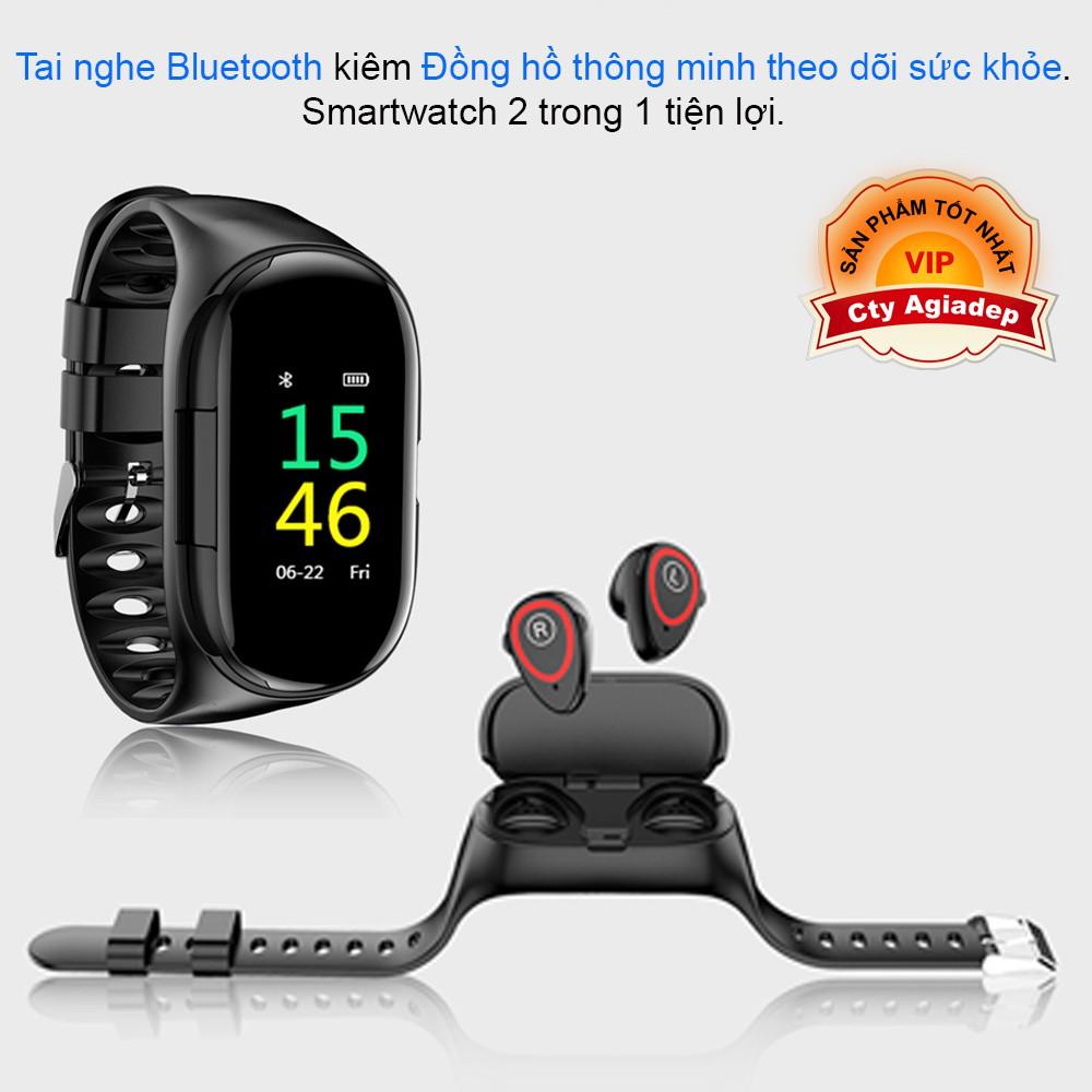 Tai nghe Bluetooth kiêm Đồng hồ thông minh theo dõi sức khỏe Smartwatch 2 trong 1 tiện lợi - Model1