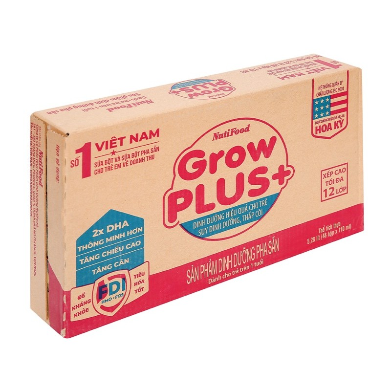 Thùng Sữa nước Growplus đỏ 110ml- Nutifood