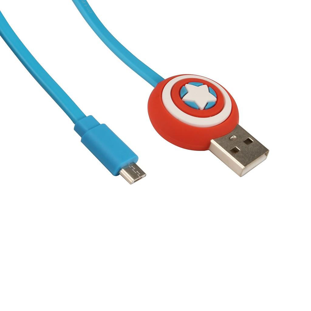 Dây cáp cho Androi Miniso Captain America (Xanh) - Hàng chính hãng