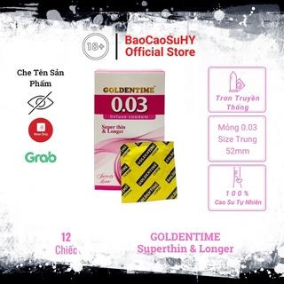 Bao Cao Su GOLDENTIME Siêu Mỏng 0.03 Kéo Dài Thời Gian Chống Xuất Tinh Sớm Hộp 1 thumbnail