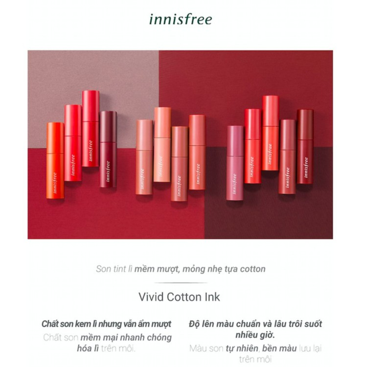Son tint lì mềm mượt innisfree Vivid Cotton Ink 4g