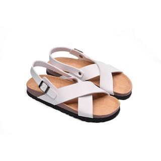 Sandal Unisex Huucuong quai chéo trắng đế trấu