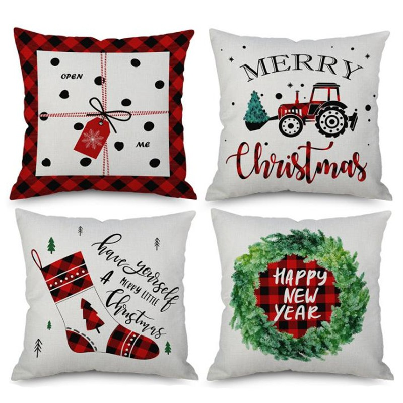 4x Merry Christmas Decorative Pillow Case Square 18 x 18 Inch