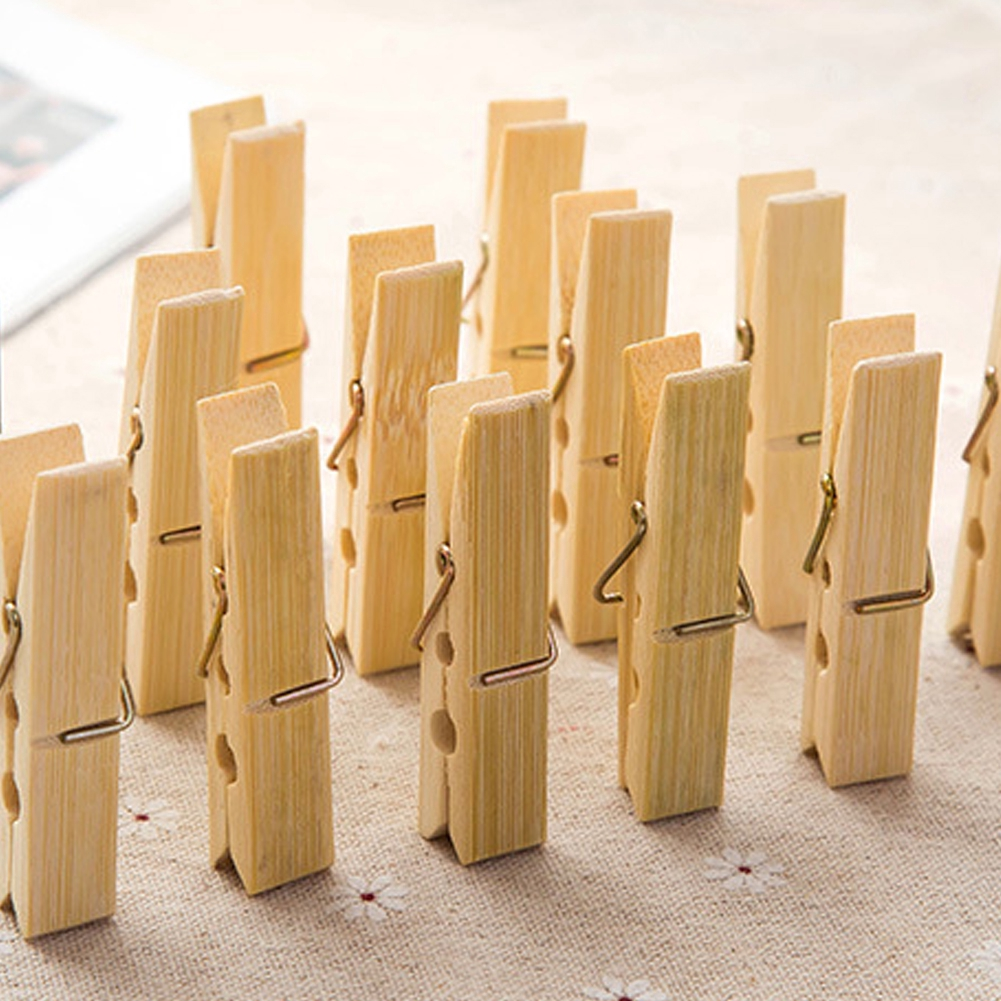 Natural Bamboo Wooden Multi-Functio Clothespins Cloth Clips for Shirts Sheets Photo Pants Paper Peg Pin Craft
