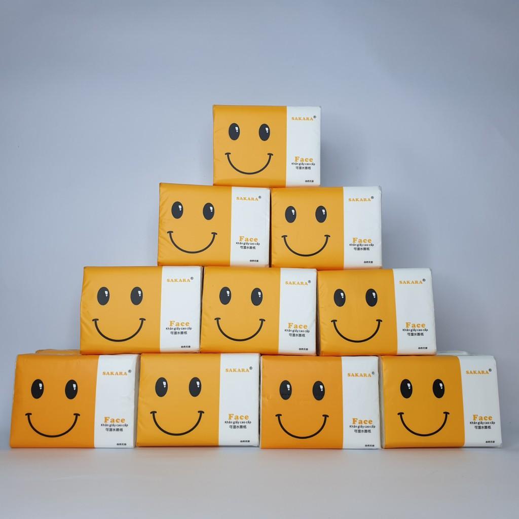 Giấy ăn SAKARA 1 tờ 4 lớp mềm dai không bụi giấy không chất tẩy trắng an toàn cho sức khoẻ