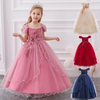 Váy phong cách công chúa thiết kế đính hoa thời trang hè cao cấp xinh xắn dành cho bé gái 5-14 tuổi