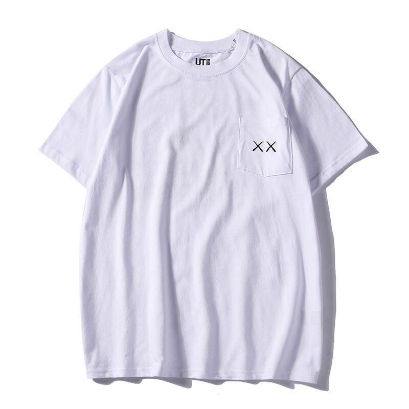 Áo thun tay ngắn cổ tròn màu trơn từ cotton in hình KAWS phong cách cho nam và nữ