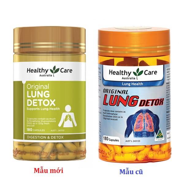 Thải độc phổi Healthy care Original Lung Detox 180 viên, Mẫu mới