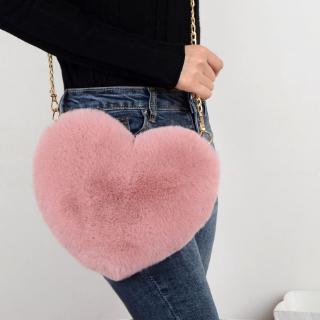 Túi đeo chéo giả lông hình trái tim thời trang cho nữ