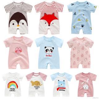 Áo liền quần ngắn tay chất liệu cotton đáng yêu cho bé