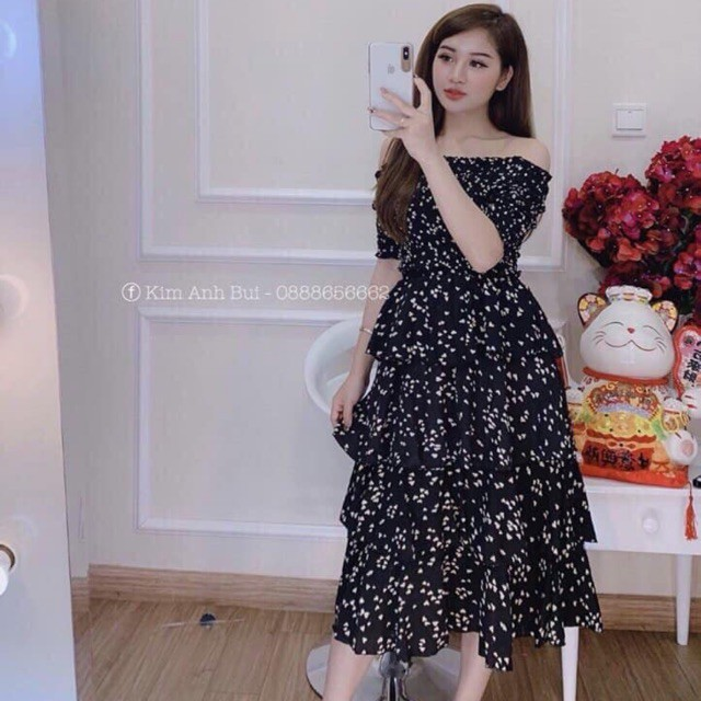 Váy Jum Trễ Vai 4 Tầng Hàng QC HOTTTT HOTTTT