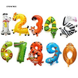 ♕Animal Number Foil Balloons Kids Party Birthday Wedding Décor Ballon Child Gift