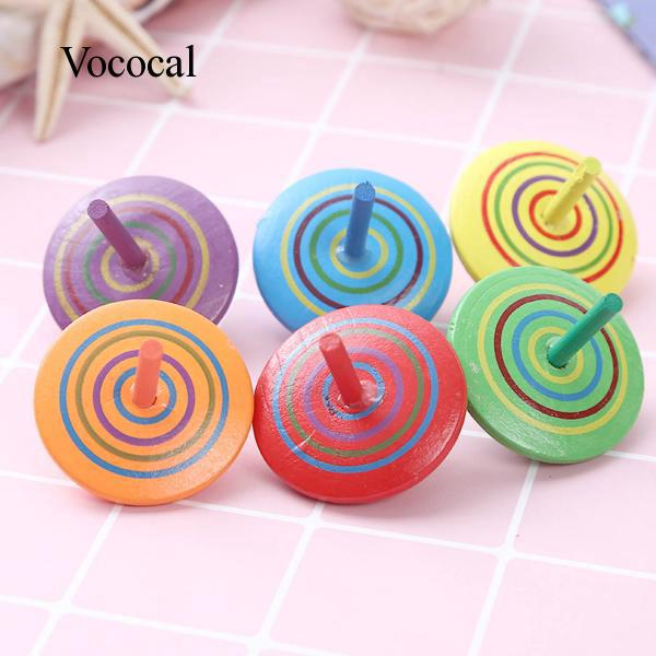 6x Handmade Painted Wooden Spinning Top Children Educational Toys