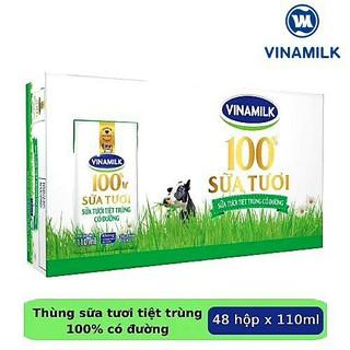 Sữa tươi 100% Vinamilk có đường thùng 12 vỉ x 110ml thumbnail