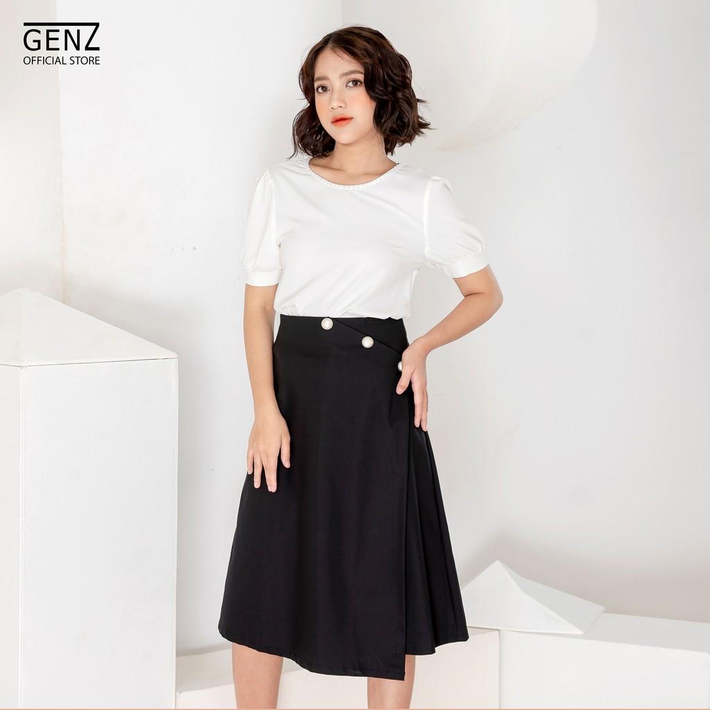 Set áo sơ mi GENZ trắng cổ tròn chân váy xéo thời trang - ZTK36