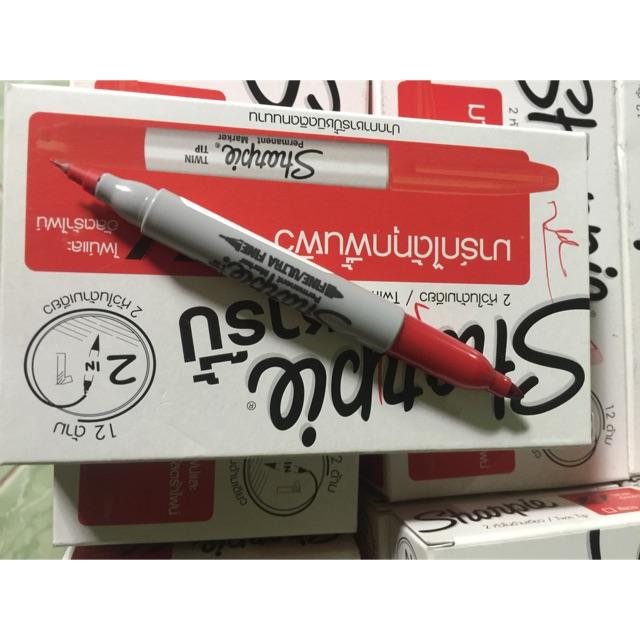 Bút lông dầu đỏ 2 đầu Sharpie