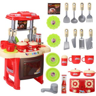 Kids Girls Cooking Kitchen Role Pretend Chef Play Set with Apron lifestar