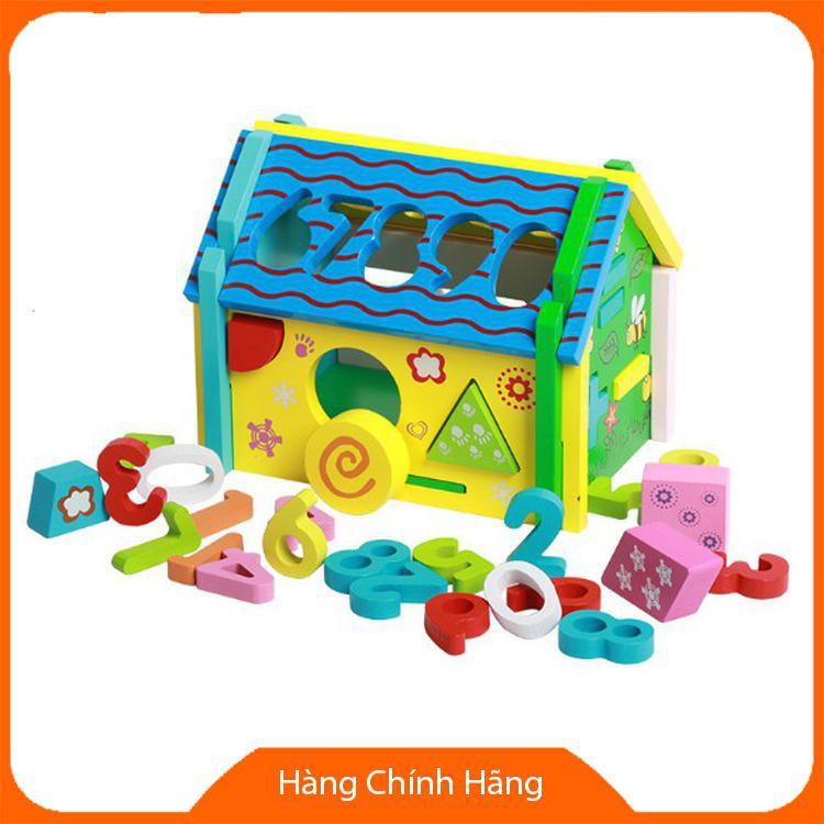 [Giảm giá] Đồ chơi ngôi nhà gỗ toán học thả hình lắp ráp đa năng màu xanh cho bé_Đảm bảo...